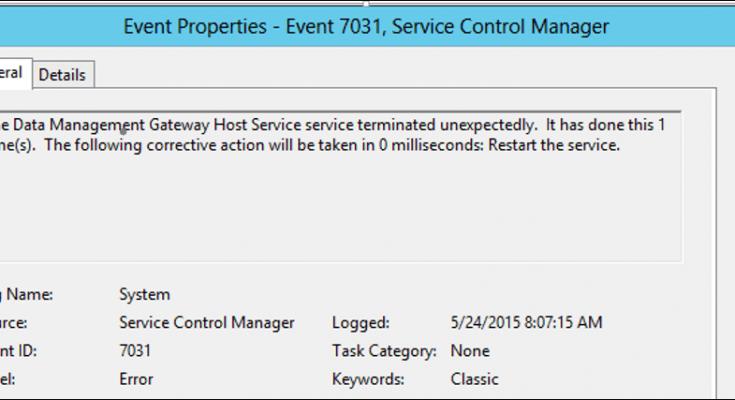 data management gateway Host Service service terminated