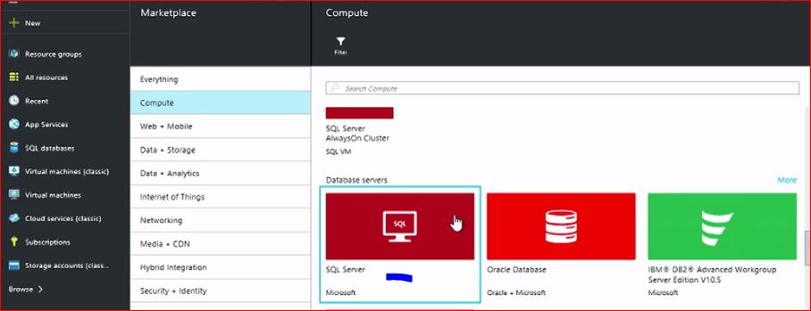 deploy sql server 2016 in windows azure
