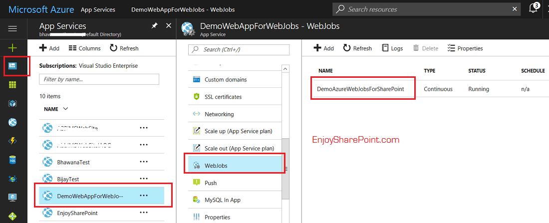 deploy web job in azure portal