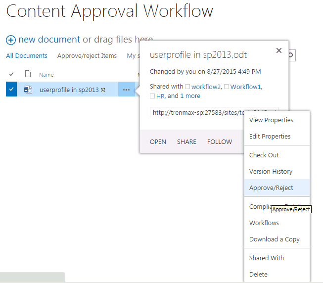 content approval in sharepoint document library
