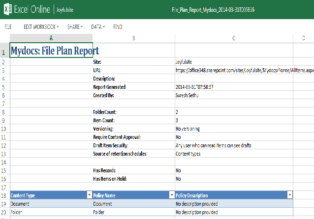 generate file plan report sharepoint 2013