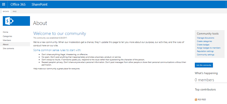 how  to  create  community  site  sharepoint  2013  online