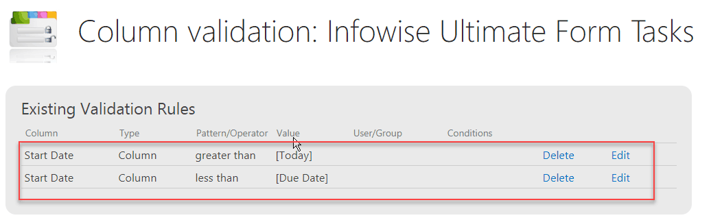 Infowise Ultimate Forms configure Start date and due date validation
