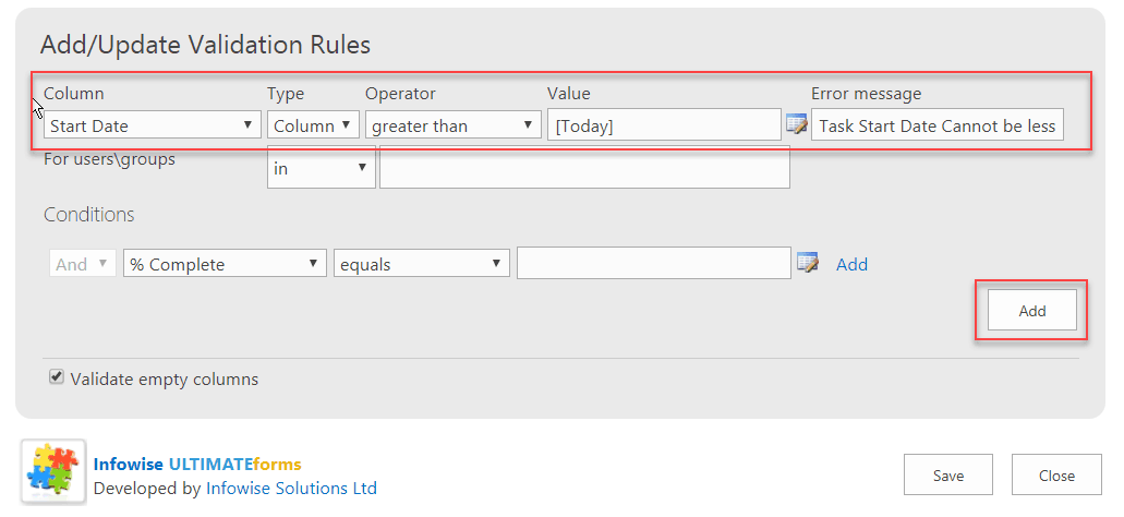 Infowise Ultimate Forms configure date validation