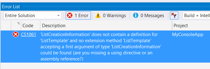 ListCreationInformation does not contain a definition for ListTemplate
