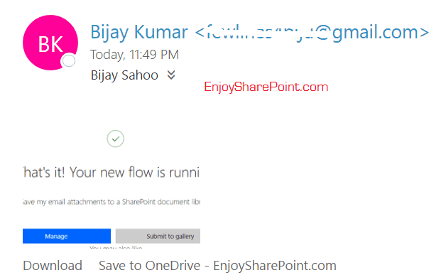 flow save email attachment to sharepoint