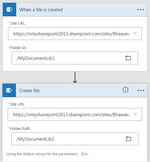copy file from sharepoint to sharepoint microsoft flow