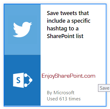 Save tweets that include specific hashtag to a SharePoint list