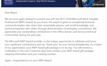 Awarded as Microsoft MVP fourth time in row in Office Servers and Services Category for SharePoint