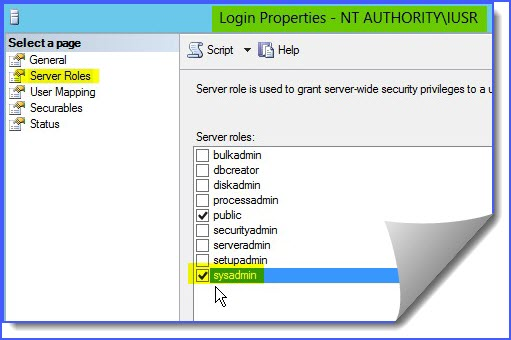 login failed for user nt authority iusr