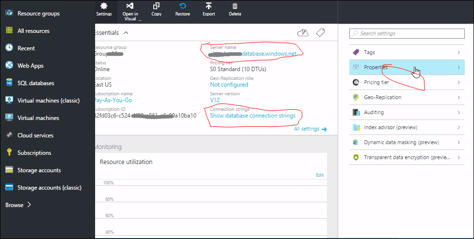 connect to azure sql database from management studio