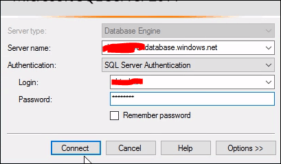 how to connect to windows azure sql database