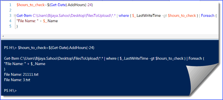 find files modified in last 24 hours from folder using PowerShell