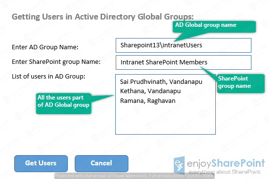 Read users from AD Global Groups Programmatically using SharePoint server object model