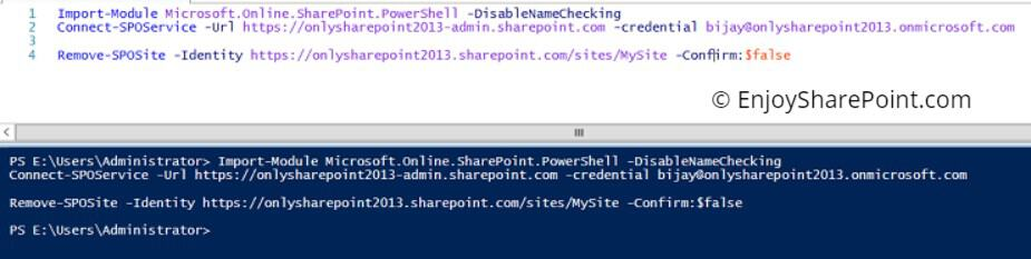 how to delete sharepoint site