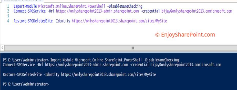 Delete and Restore Site Collection using PowerShell in SharePoint Online