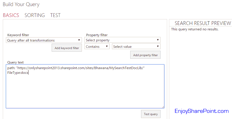 content search web part with custom result source