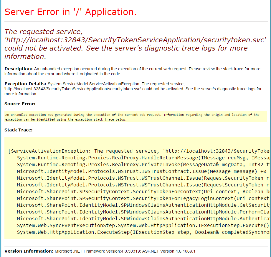 The request service svc url could not be activated. See the server diagnostic trace logs for more information error while opening SharePoint 2016 site