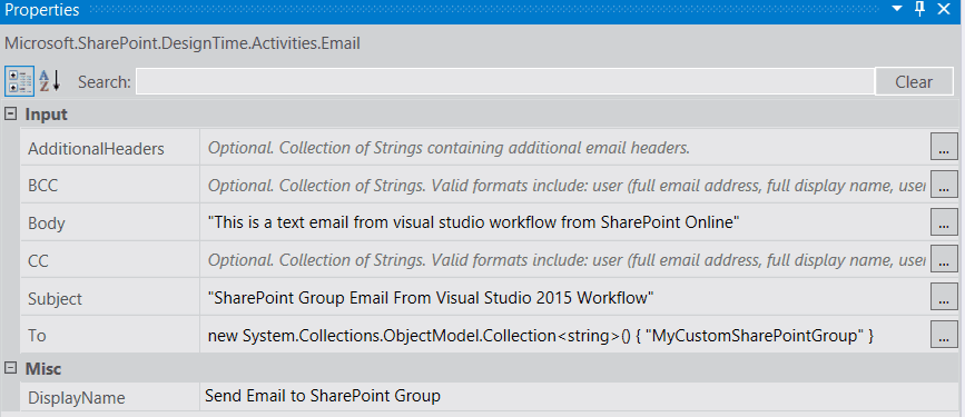 send email to sharepoint group in visual studio workflow in SharePoint online