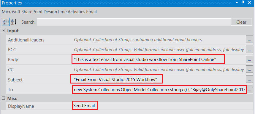 sharepoint send email using visual studio workflow