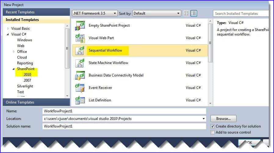 sharepoint 2010 sequential workflow in visual studio