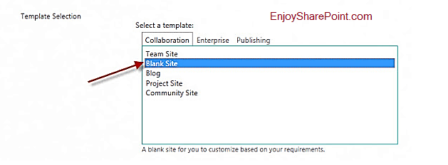 blank site template sharepoint 2016