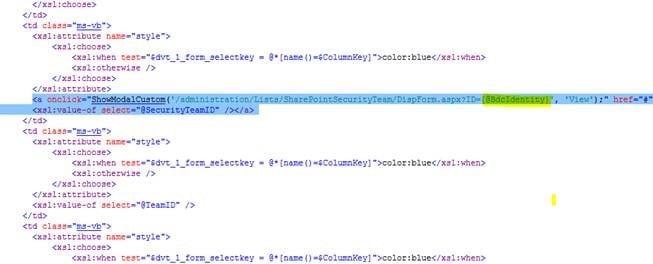 sharepoint 2013 business data list web part edit xslt code