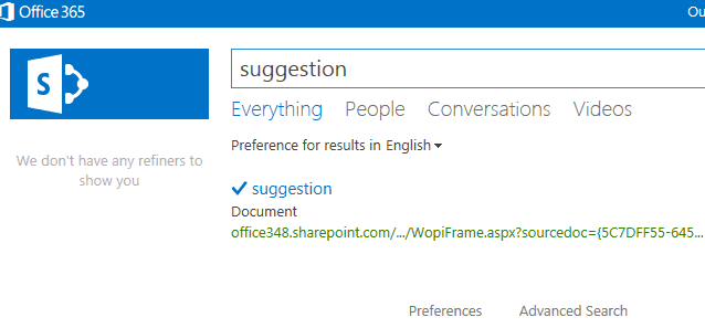 SharePoint 2013 Promoted Search Results