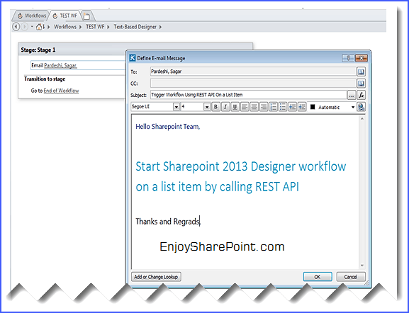 trigger workflow using rest api sharepoint 2013
