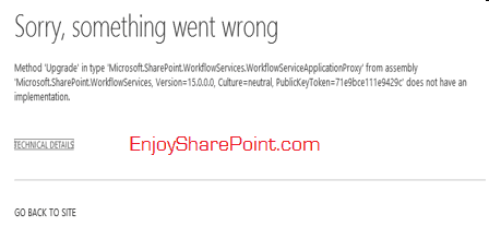 sharepoint 2013 workflow error method upgrade
