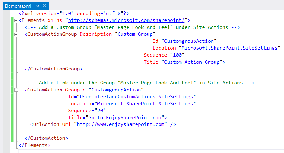 Create a custom action group in SharePoint 2016 using visual studio