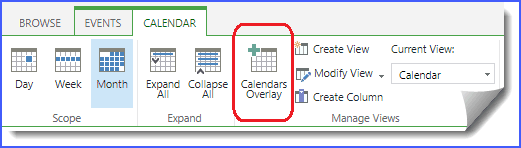 sharepoint calendar overlay colors