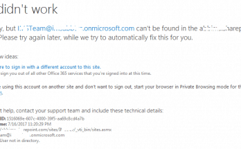 SharePoint online error We are sorry but email can not be found in the site name directory visual studio 2015