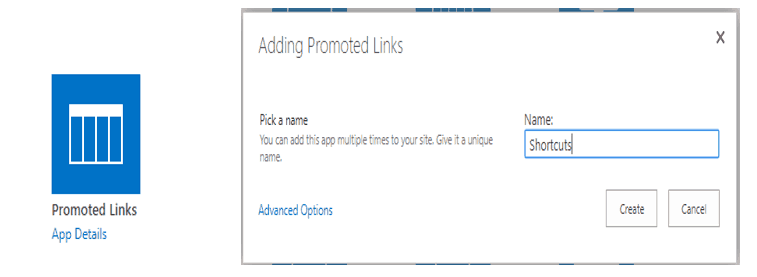 promoted links webpart in sharepoint online