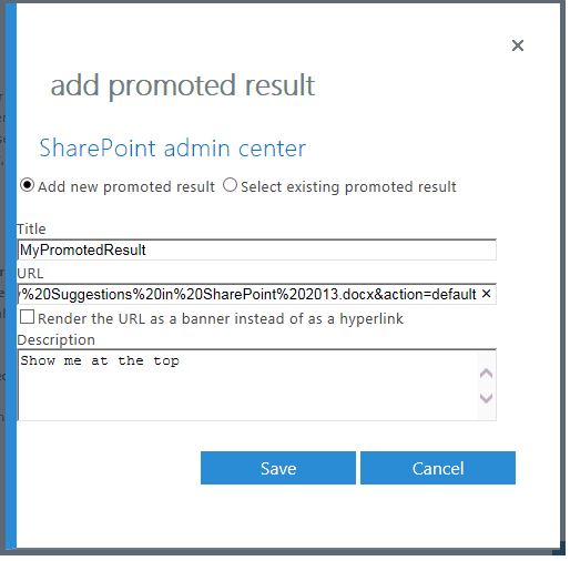 sharepoint add promoted results