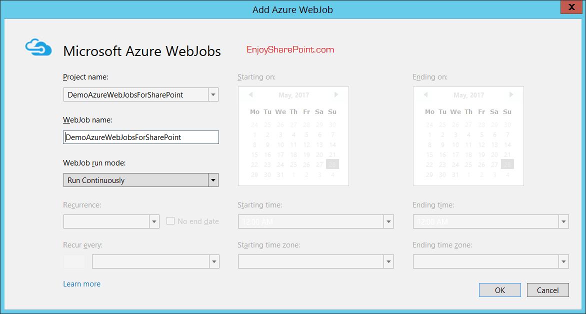 schedule azure webjobs in sharepoint online