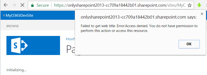 Failed to get web title. Error.Access denied. You do not have permission to perform this action or access this resource.