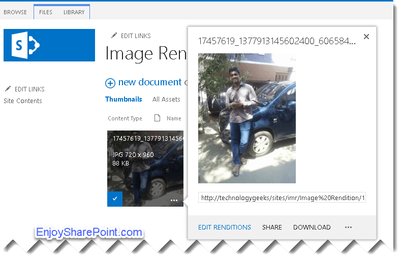 sharepoint online image rendition