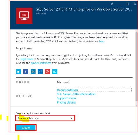 steps deploy sql server 2016 in windows azure