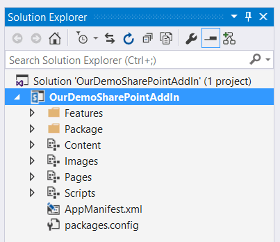 Create SharePoint hosted add-in using visual studio