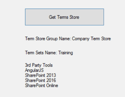 sharepoint get term store programmatically using csom