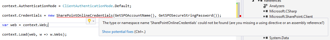 The type or namespace SharePointOnlineCredentials could not be found