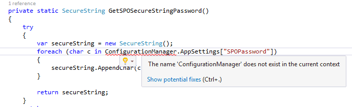 the name configurationmanager does not exist in the current context