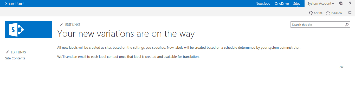 variations in sharepoint 2019