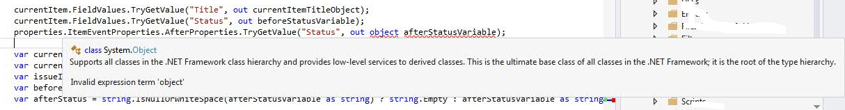 Invalid expression term object