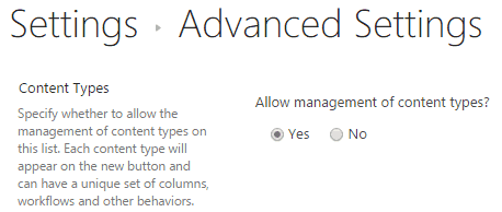 content type in SharePoint online
