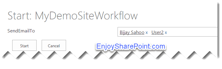 workflow Initiation Form Parameters sharepoint 2016