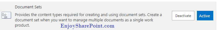 Activate Document sets feature in SharePoint Online