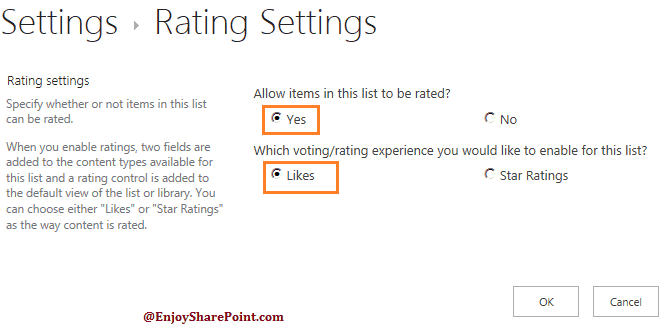ratings in Discussion Board in SharePoint 2013