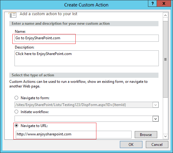 Add Custom Actions to List Item Menu in SharePoint using SharePoint Designer